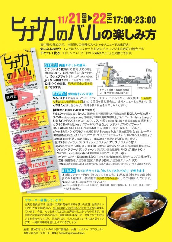 11/21-22 「まちなかのバル in 東中野」開催